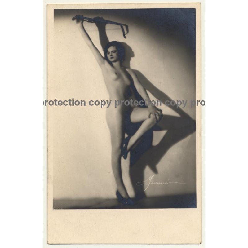 Beautiful Nude Woman W. Whip (Vintage RPPC Atelier Manassé 1920s/1930s)