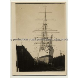 Begian School-Ship L'Avenir *1 / In Dry Dock  (Vintage Photo ~ 1920s/1930s)
