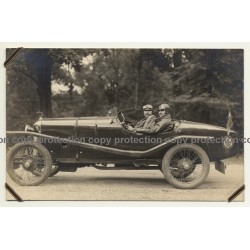 Cool Couple In Roadster W. Coat Of Arms Of Belgium (Vintage RPPC ~1910s/1920s)