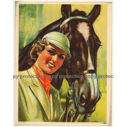 Elegant Horsewoman & Her Horse (Vintage Print Belgium 1940s/1950s  ~ 31 x 24 CM)
