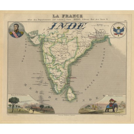 Inde: France And Its Colonies - Migeon Vuillemin (VINTAGE MAP LATE 19th CENTURY)