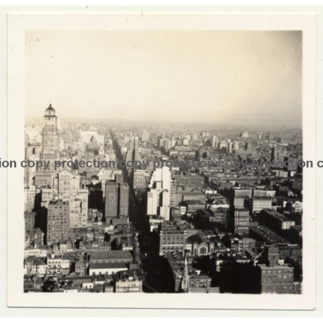 New York: Manhattan From General Electric Building (Vintage Photo B/W ~ 1960s)