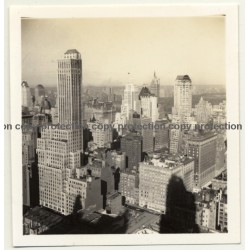 New York: Mid Town To Central Park / Skyscrapers (Vintage Photo B/W ~ 1960s)