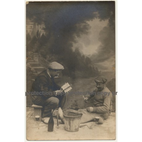 2 Tilers At Work / Tools - Profession (Vintage RPPC ~1910 Belgium)