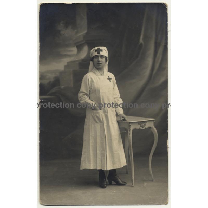 Red Cross Nurse In Uniform / Bonnet - Profession (Vintage RPPC ~1910s Belgium)
