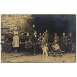Family & Staff Of Sawmill / Sawblade - Wood - Profession (Vintage RPPC ~1910s)