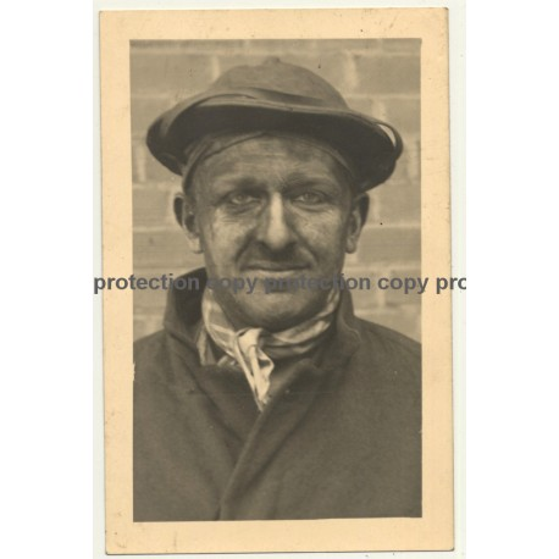 Quaregnon / Belgium: Portrait Of Coalminer (Vintage RPPC 1947)