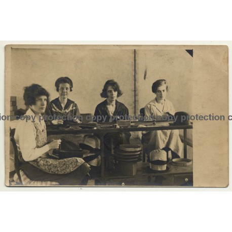 4 Female Milliners At Work / Modiste (Vintage RPPC ~1910/1920s)