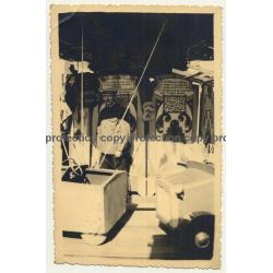 Showman At His Carousel *1 / Funfair (Vintage RPPC Belgium ~1920s/1930s)