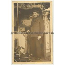 Showman At His Carousel *2 / Funfair (Vintage RPPC Belgium ~1920s/1930s)