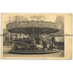Showman Family In Front Of Carousel / Funfair - Ride (Vintage RPPC Belgium ~1920s/1930s)