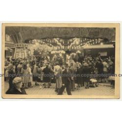 Funfair Bustle / Crowd - Carousel - Ride (Vintage RPPC Belgium ~1920s/1930s)
