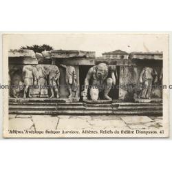 Greece: Athènes Reliefs Du Théâtre Dionyssos 47 (Vintage RPPC ~1930s)