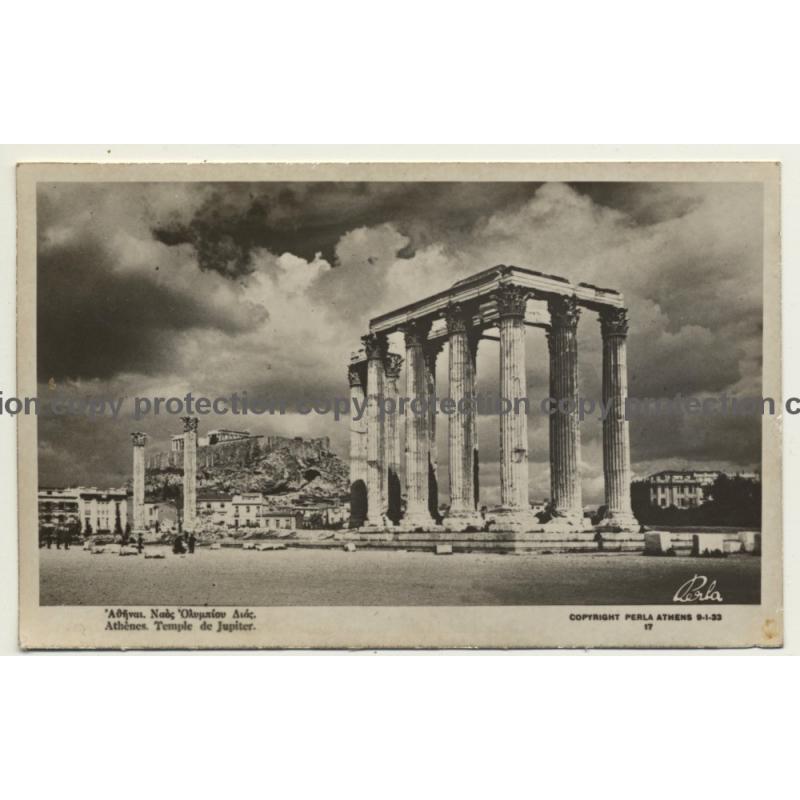 Greece: Athènes Temple Du Jupiter (Vintage RPPC ~1930s)