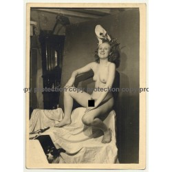 Semi Nude Blonde Female In Carnival Costume *4 / Hat (Vintage Photo ~1930s)