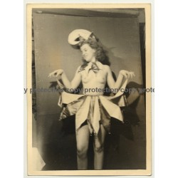 Semi Nude Blonde Female In Carnival Costume *5 / Hat (Vintage Photo ~1930s)