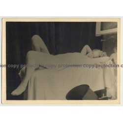 Pretty, Blonde Nude Woman Lays on Bed (Vintage Photo ~1930s)