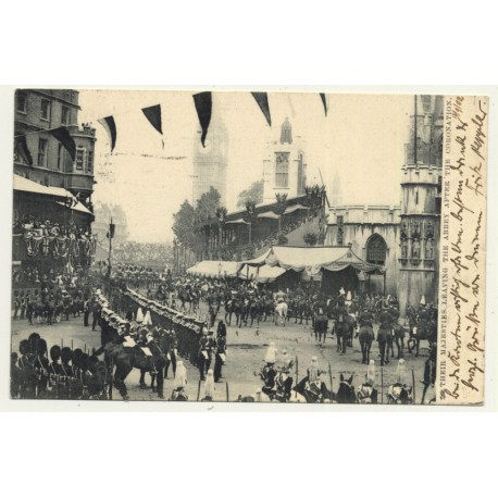 United Kingdom: Majesties Leaving Abbey After Coronation (Vintage Postcard 1902)