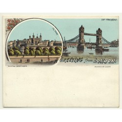 Sandle Brothers / UK: Greeting From London *1 (Vintage Court Size Postcard ~1900)