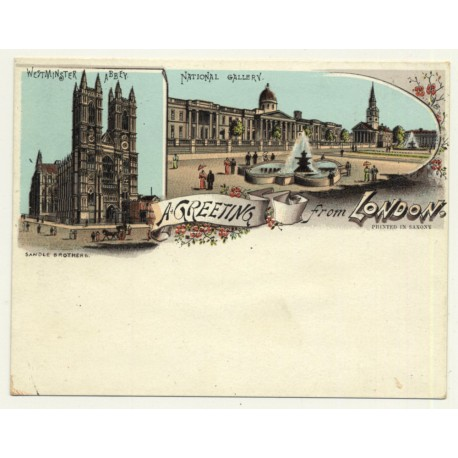 Sandle Brothers / UK: A Greeting From London *3 (Vintage Court Size Postcard ~1900)