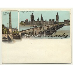 Sandle Brothers / UK: A Greeting From London *4 (Vintage Court Size Postcard ~1900)