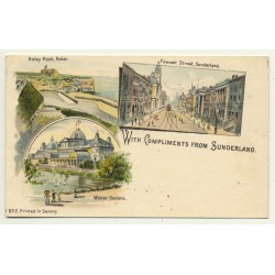 UK: With Compliments From Sunderland (Vintage Court Size Postcard ~1900 Litho)