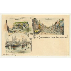 UK: With Compliments From Southshields (Vintage Court Size Postcard ~1900 Litho)