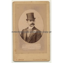 A. Leroux, Alger: Portrait Of Tourist W. Turban *2 (Vintage Cabinet Card Photo Pre 1900)