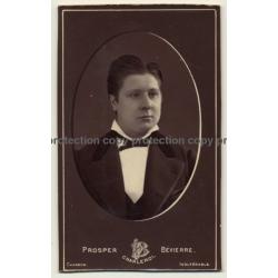 A. Damry / Liége: Old Man In Suit W. Vest (Vintage Carte De Visite / CDV ~1870)
