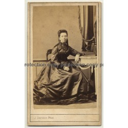 J. Servais / Liége: Fine Woman In Elaborate Dress (Vintage Carte De Visite / CDV ~1860s)