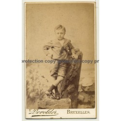L. Devolder / Bruxelles: Cheeky Boy Leans Against Tree Trunk (Vintage Carte De Visite / CDV ~1860s)