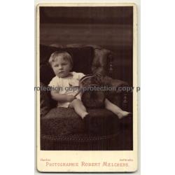 R. Melchers: Chubby Baby Girl W. Drum & Stick (Vintage Carte De Visite / CDV ~1870s/1880s)