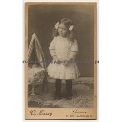 C. Messaz / Lausanne: Little Girl - Doll - Pram (Vintage Carte De Visite / CDV ~1900s)