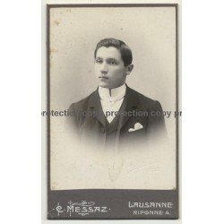 C. Messaz / Lausanne: Smart Young Man In Suit (Vintage Carte De Visite / CDV 1903)