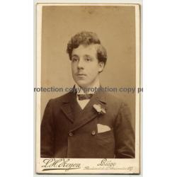 L. H. Zeyen: Portrait Of Young Man / Bum-Fluff Moustache (Vintage Carte De Visite / CDV ~1890s/1900s)