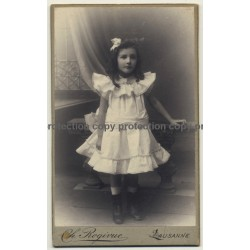 Ch. Rogivue / Lausanne: Baby Girl In White Dress (Vintage Carte De Visite / CDV ~1900s)