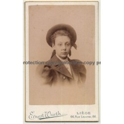 Ernest Wurth / Liège: Dreamy Young Girl / Puff Sleeves (Vintage Carte De Visite / CDV 1898)
