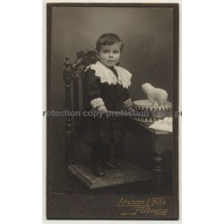 Lorson & Fils / Fribourg: Baby Girl W. Drum & Stick (Vintage Carte De Visite / CDV ~1900s)