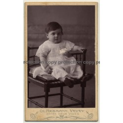 Ch. Rebmann / Vevey: Chubby Baby Girl On Chair (Vintage Carte De Visite / CDV ~1900s)