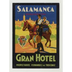 Gran Hotel - Salamanca / Spain (Vintage Luggage Label)