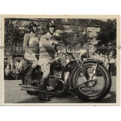 Stylish Couple On Zündapp K800 Motorbike (Vintage Belgian Press Photo 1930s)