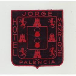 Hotel Jorge Manrique - Palencia / Spain (Vintage Luggage Label)