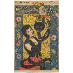 J. Diéguez: El Gato Negro Tomo I N° 6 / AL Carnaval (Vintage Cover Page 1898)