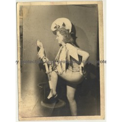 Semi Nude Blonde Female In Carnival Costume *6 / Joker Stick (Vintage Photo ~1930s)