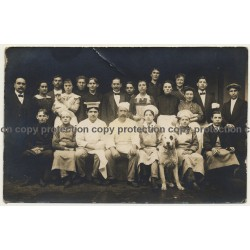Staff Of French Hotel / Group Photo - Dog - Cooks - Maids (Vintage RPPC 1914)
