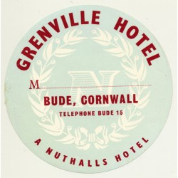 Grenville Hotel - Bude, Cornwall / Great Britain (Vintage Luggage Label)