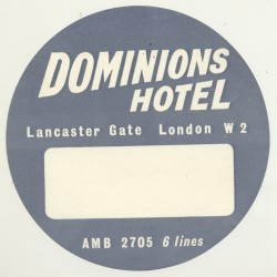 Dominions Hotel - London / Great Britain (Vintage Luggage Label)