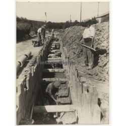 Netherlands: Workers - Sewer Construction - Canal *3 (Vintage Photo ~1920s)