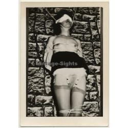 Slim Blindfolded Woman Tied In Dungeon *3 / BDSM (Vintage RPPC Leonar  ~1950s)