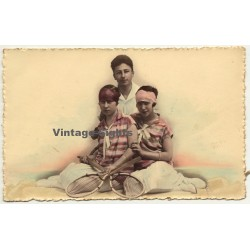 Male & 2 Female Tennis Players (Vintage Hand Colored RPPC 1926)